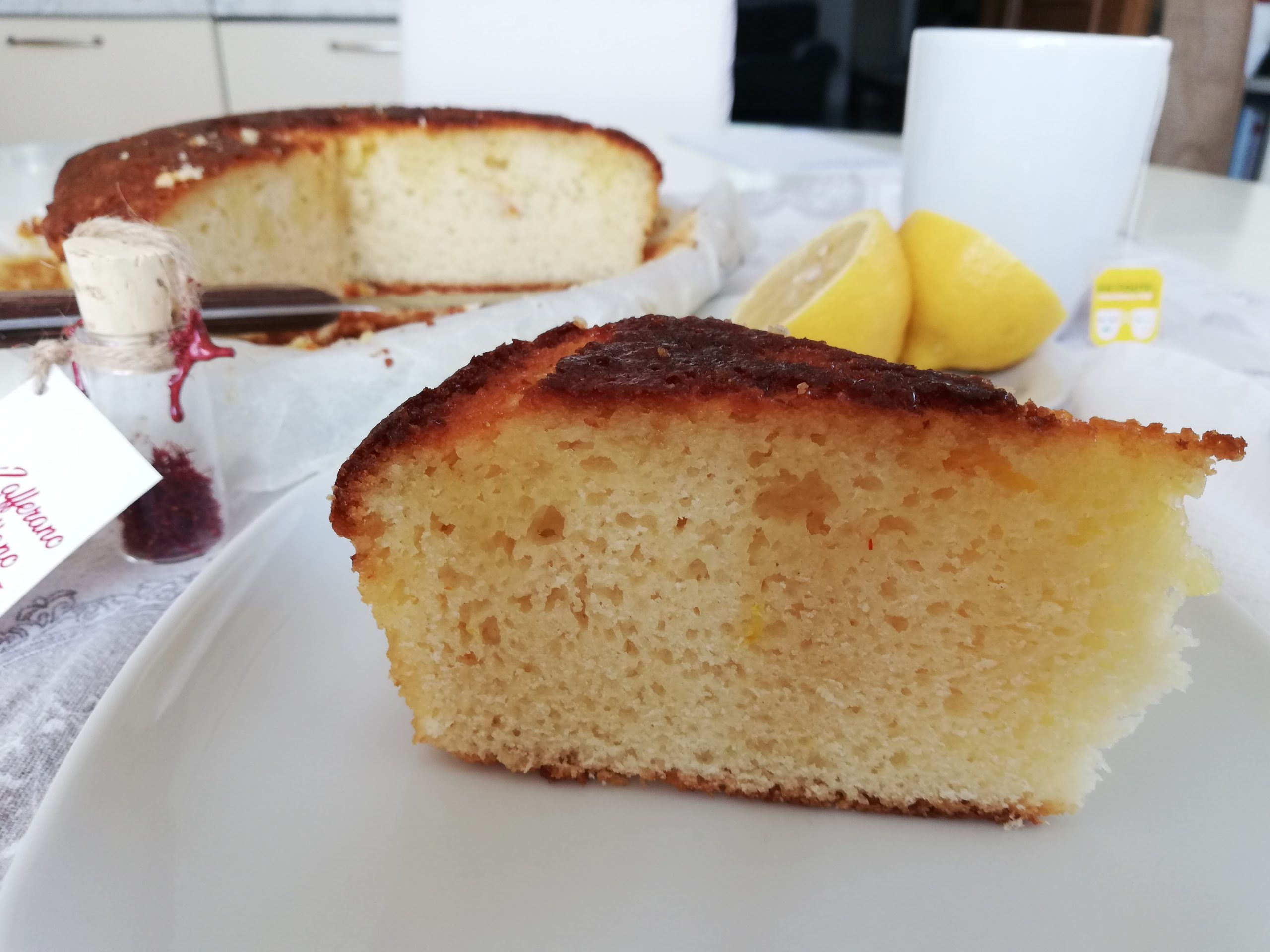 lemon and saffron drizzle cake